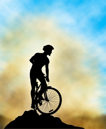 Editable illustration of a mountain biker silhouette high on a ridge with background sky