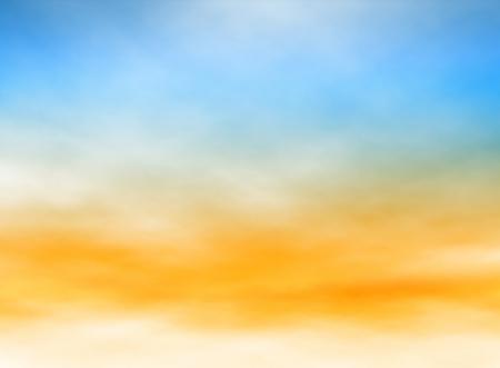 Illustration modifiable de hauts nuages ??brumeux dans un ciel bleu et orange fait avec un filet de dégradé Banque d'images - 17949376