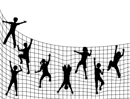 Editable illustration of children silhouettes climbing a net with kids as separate objects