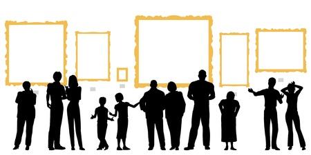 Silhouettes vectoriel éditable des diverses populations à une galerie d'art ou un musée Banque d'images - 18012645
