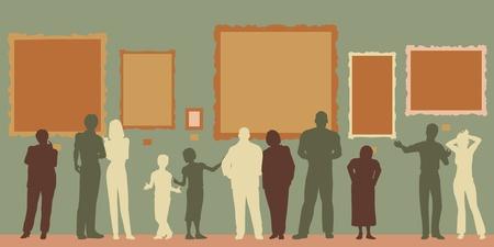 Edytowalne sylwetki wektora różnych ludzi w galerii sztuki lub muzeum