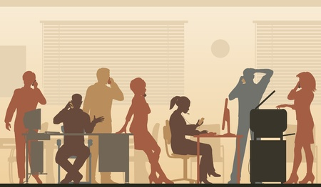 Editable illustration of business people in an office all talking on cellphones