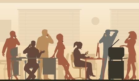 Editable Abbildung von Geschäftsleuten in einem Büro alle reden auf Handys