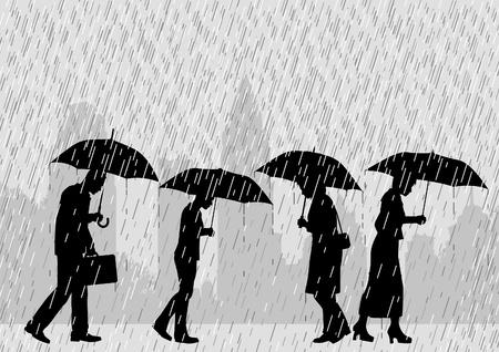 Illustration modifiable de personnes sur une rue de ville à pied sous la pluie avec des parapluies