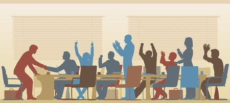 Editable silhouettes of colorful business people celebrating at a meeting