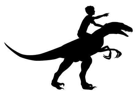 Editable vector silhouette of a boy riding a velociraptor with boy and dinosaur as separate objects