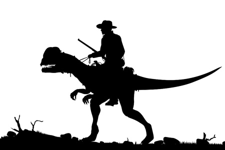 Editable silhouette of a cowboy riding a Dilophosaurus dinosaur as separate objects Stock Illustratie