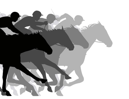 Editable  silhouettes of a very close horse race