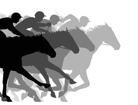 Silhouettes modifiable d'un très proche course de chevaux Banque d'images - 19126003