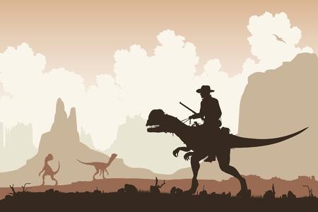 Editable  illustration of a cowboy riding a Dilophosaurus dinosaur in a primeval landscape