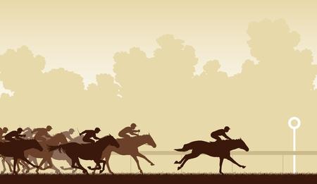 Illustration modifiable d'un cheval de course avec un cheval et jockey sur le point de gagner Banque d'images - 19126010