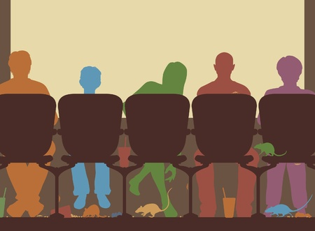 Editable illustration of people in a cinema with rubbish and rats on the floor Ilustrace