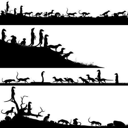 Set of editable foreground silhouettes of African meercats with animals as separate objects Stock Illustratie
