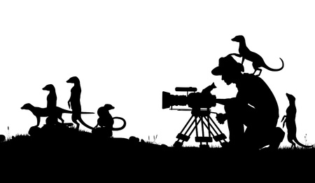 Editable silhouettes of a cameraman filming meercats with all elements as separate objects