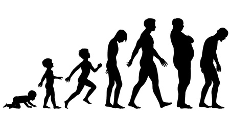 Editable silhouette sequence of the life stages of a man