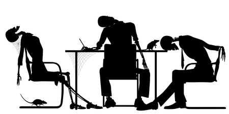 Editable silhouettes of skeletons in an office as a failed business concept Stock Illustratie