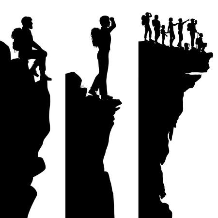 Tres siluetas editables panel lateral de excursionistas de pie en la cima de un acantilado o afloramiento con todas las personas como objetos separados Ilustración de vector