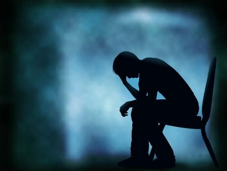 Editable vector silhouet van een man zitten met zijn hoofd in zijn hand; achtergrond gemaakt met een verloop net Stock Illustratie