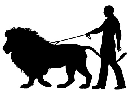 Editable vector silhouette of a man walking a lion on a leash