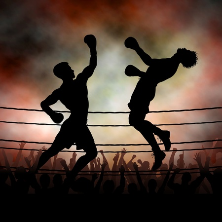 Editable vector silhouette of a boxer knocking out his opponent with an uppercut punch with background made using a gradient mesh