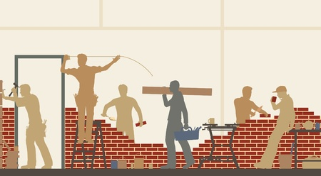 Editable illustration of construction workers at a building site