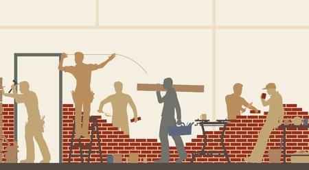 Illustration modifiable des travailleurs de la construction sur un chantier de construction Banque d'images - 20104043