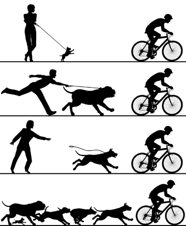 Four editable silhouettes of dogs reacting Stock Illustratie