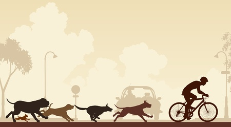 Editable illustration of dogs chasing a cyclist along a street Stock Illustratie