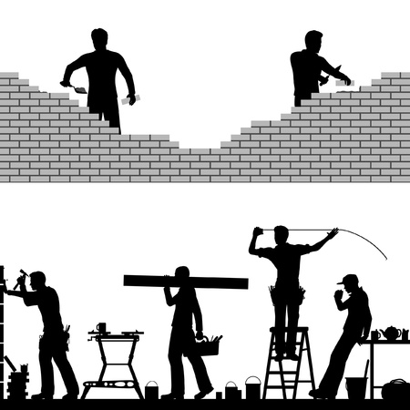 Two editable foreground design elements of builders and bricklayers