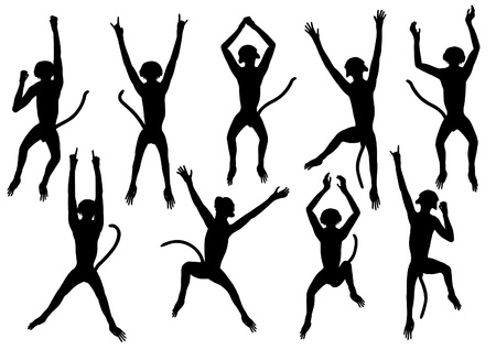 Set of editable silhouettes of jumping monkeys Stock Vector - 20104038