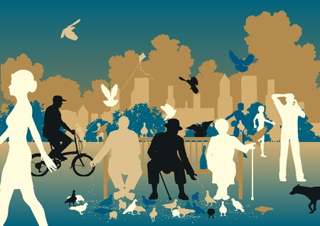 Editable vector illustration of people feeding pigeons in a busy urban park Ilustração
