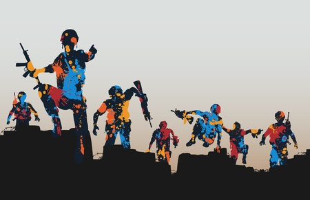 Editable illustration of paint splattered armed soldiers charging forward