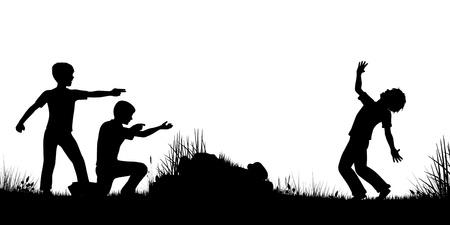 Bewerkbare silhouet van jonge jongens spelen als soldaten vuren geweren met cijfers als afzonderlijke objecten Stock Illustratie