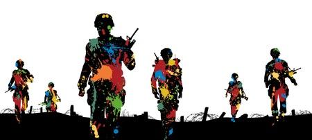 Editable illustration of paint splattered soldiers walking on patrol