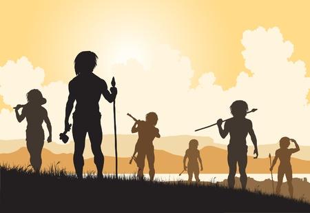 Editable vector silhouettes of cavemen hunters on patrol Stock Illustratie