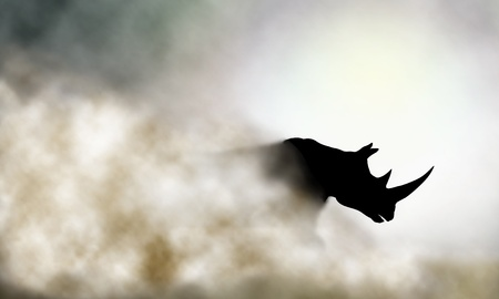 Editable vector illustration of a charging rhinoceros and dust cloud made using a gradient mesh 일러스트
