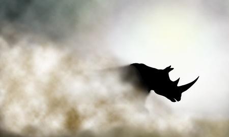 Ilustración vectorial editable de un rinoceronte y el polvo nube de carga hecha con una malla de degradado