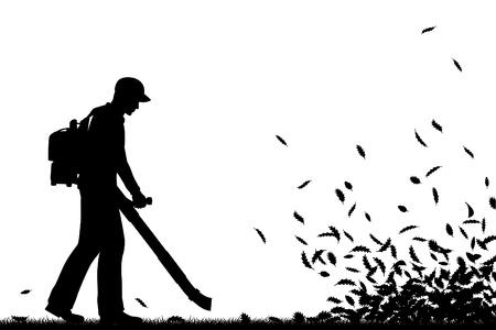 Editable vector silueta de un hombre usando un soplador de hojas para limpiar las hojas con todos los elementos como objetos separados