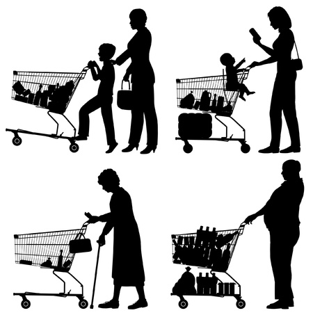 Editable silhouettes of people and their supermarket shopping trolleys with all elements as separate objects Vectores