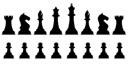 Editable vector silhouettes of a set of standard chess pieces Ilustração