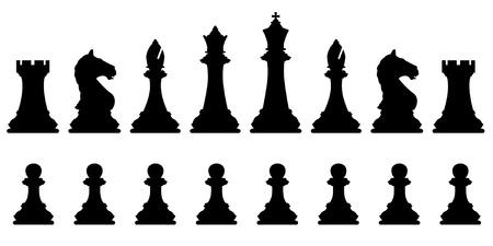 Silhouettes vectoriel éditable d'un ensemble de pièces d'échecs standards Banque d'images - 21925504