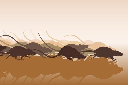 Editable vector illustration of many rats racing or running away 일러스트