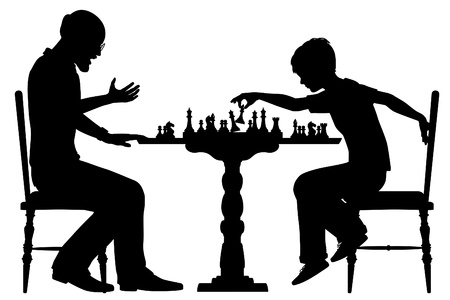 Editable vector silhouette of a young boy beating a man at chess with all elements as separate objects