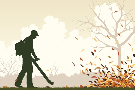 Editable vector illustration of a man using a leaf-blower to clear leaves