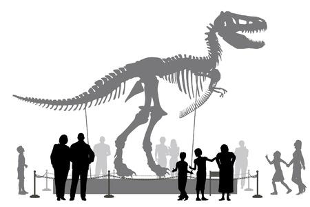 Siluetas vectoriales editables de personas que buscan en un esqueleto de Tyrannosaurus rex en un museo