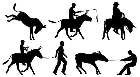 Jeu de silhouettes vectoriel éditable des ânes et des personnes dans des situations différentes avec tous les chiffres comme des objets distincts Banque d'images - 22027125