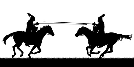 Editable vector silhouettes of two knights on horses jousting with all figures as separate objects Ilustrace