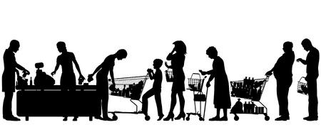 Siluetas de personas en una cola del supermercado con todos los elementos como objetos separados