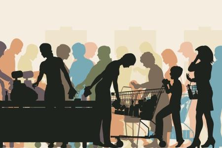 illustrazione colorata di persone in file alle casse di un supermercato affollato