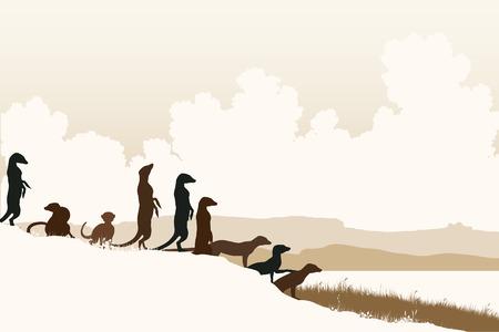Bewerkbare vector illustratie van de Afrikaanse stokstaartjes bij een uitkijkpunt